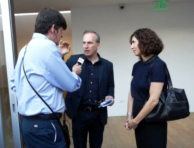 KPCC's John Rabe interviewing Bob Odenkirk (Breaking Bad, Mr Show) at Martin Mull's opening at Samuel Freeman Gallery in Culver City.