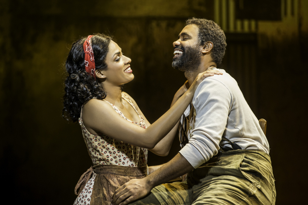 Alicia Hall Moran as Bess and Nathaniel Stampley as Porgy on stage at the Ahmanson Theatre.