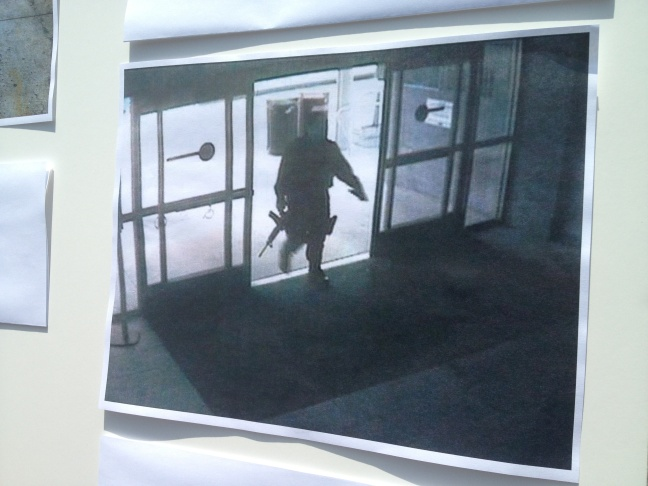 Video still showing the gunman entering the Santa Monica College library on June 7, 2013.
