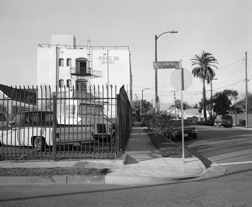 Martin Luther King Boulevarrd in Los Angeles was the first street named after Martin Luther King Jr. that Berger photographed.