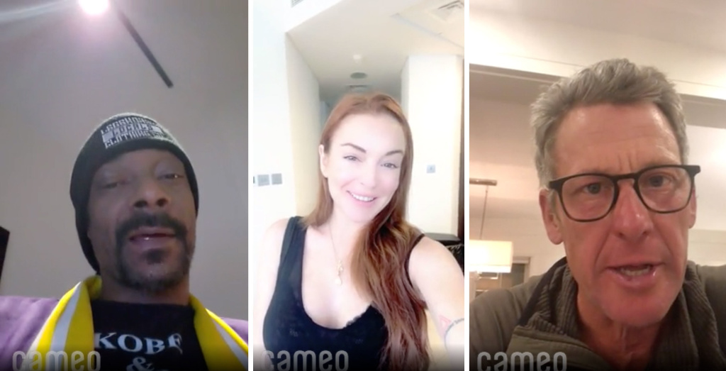 Cameo enlists stars to produce short video messages that are paid for by fans. In these videos Snoop Dogg (left) wishes happy birthday to an 18 year old, Lindsay Lohan (center) offers condolences for a postponed bachelorette party, And Lance Armstrong (right) sends greeting from Nantucket.
