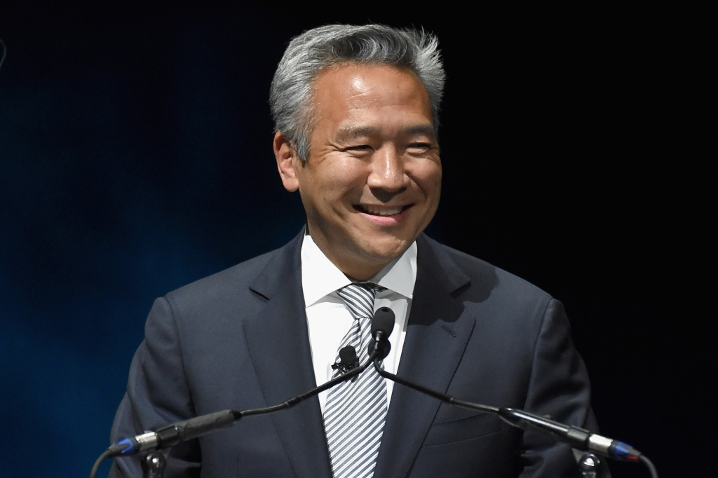 "Kevin Tsujihara, then CEO of Warner Bros. Entertainment Inc., speaks at Warner Bros. Pictures' ""The Big Picture"", an Exclusive Presentation Highlighting the Summer of 2015 and Beyond at The Colosseum at Caesars Palace in Las Vegas during CinemaCon."