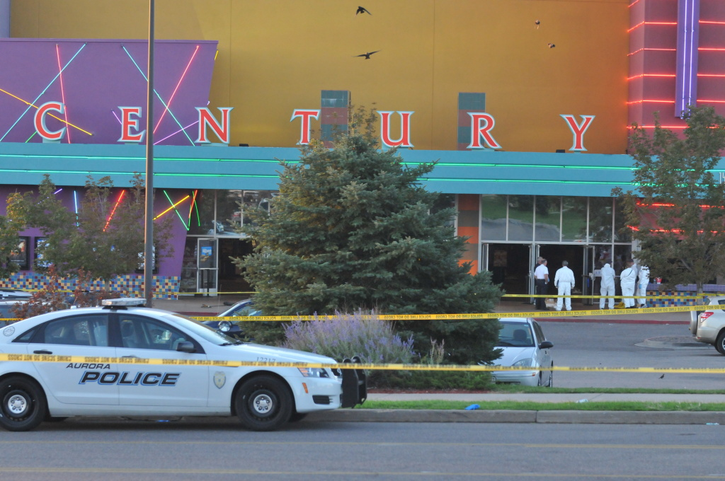 The Century 16 movie theatre is seen where a gunmen attacked movie goers during an early morning screening of the new Batman movie,