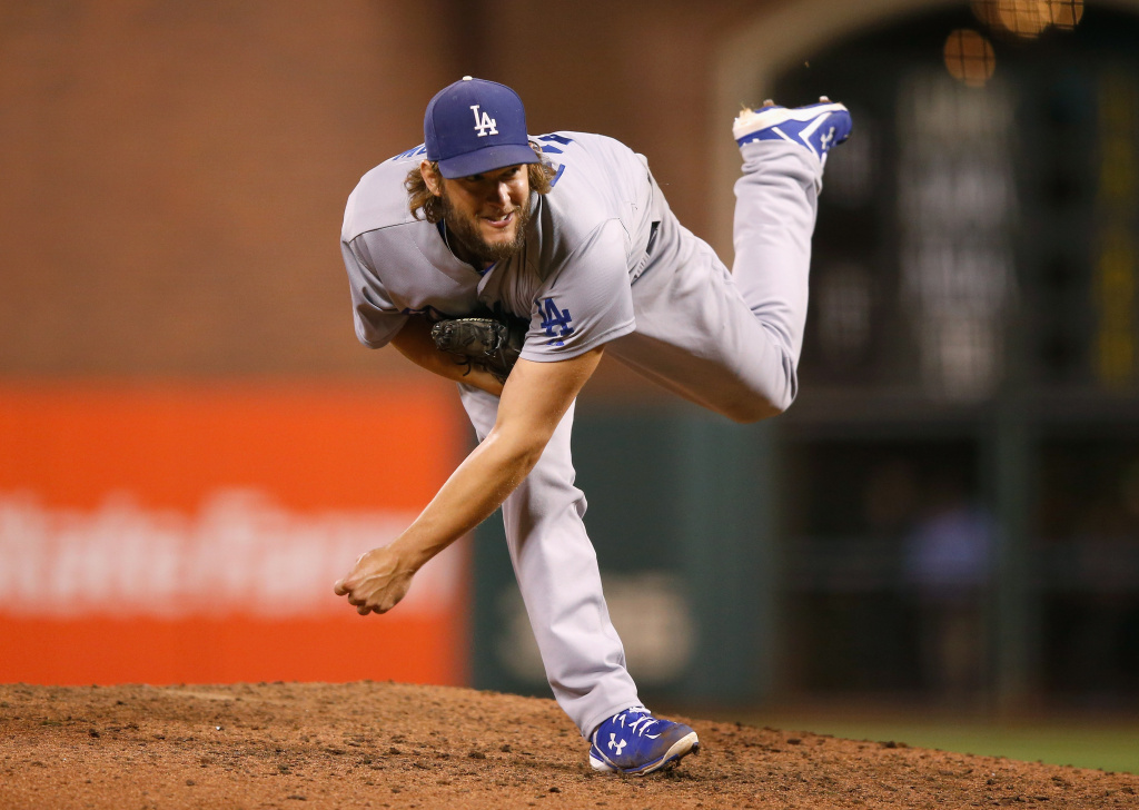 SAN FRANCISCO, CA - SEPTEMBER 29:  Clayton Kershaw #22 of the Los Angeles Dodgers pitches against the San Francisco Giants in the eighth inning at AT&T Park on September 29, 2015 in San Francisco, California.  (Photo by Ezra Shaw/Getty Images)