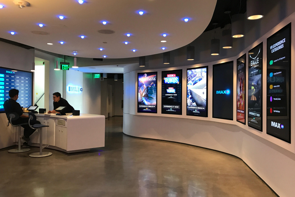 The lobby of the IMAX VR Centre in Los Angeles.