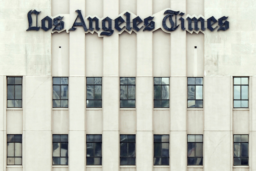 The Los Angeles Times building. Parent company Tribune could sell they newspaper on emerging from bankruptcy.