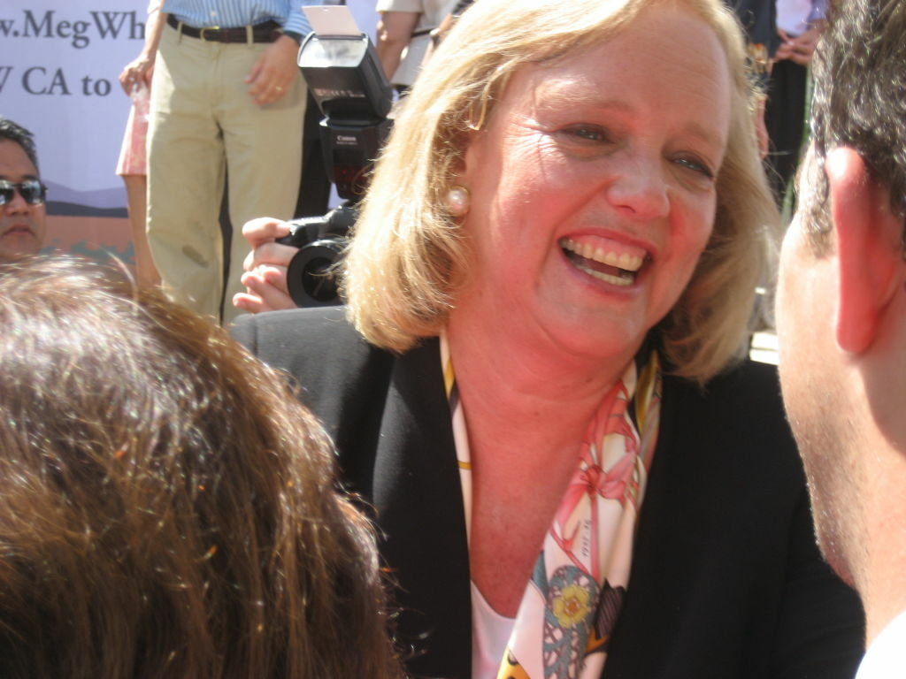 Former eBay CEO Meg Whitman greets supporters after she announces she's running for governor as a Republican.