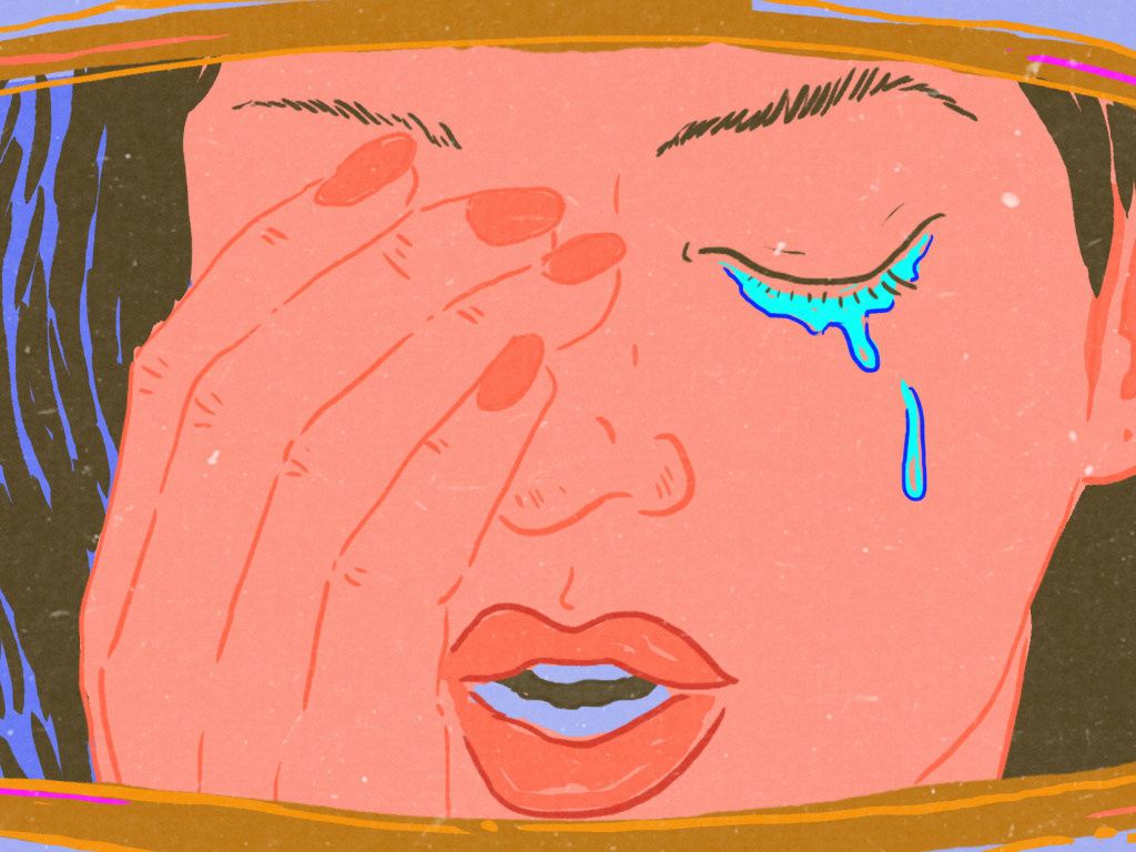 Close-up illustration of a woman crying in the rear-view mirror of her car