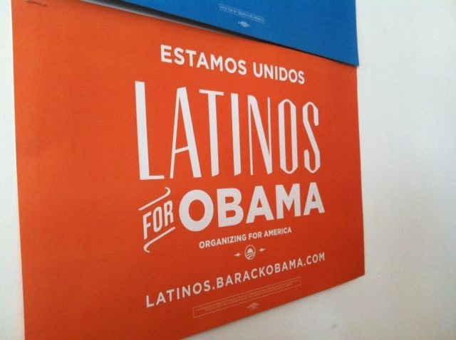 "A Democratic campaign sign at a South Los Angeles campaign office reaches out in Spanish and English, but opts for the term ""Latinos"" over ""Hispanics""."