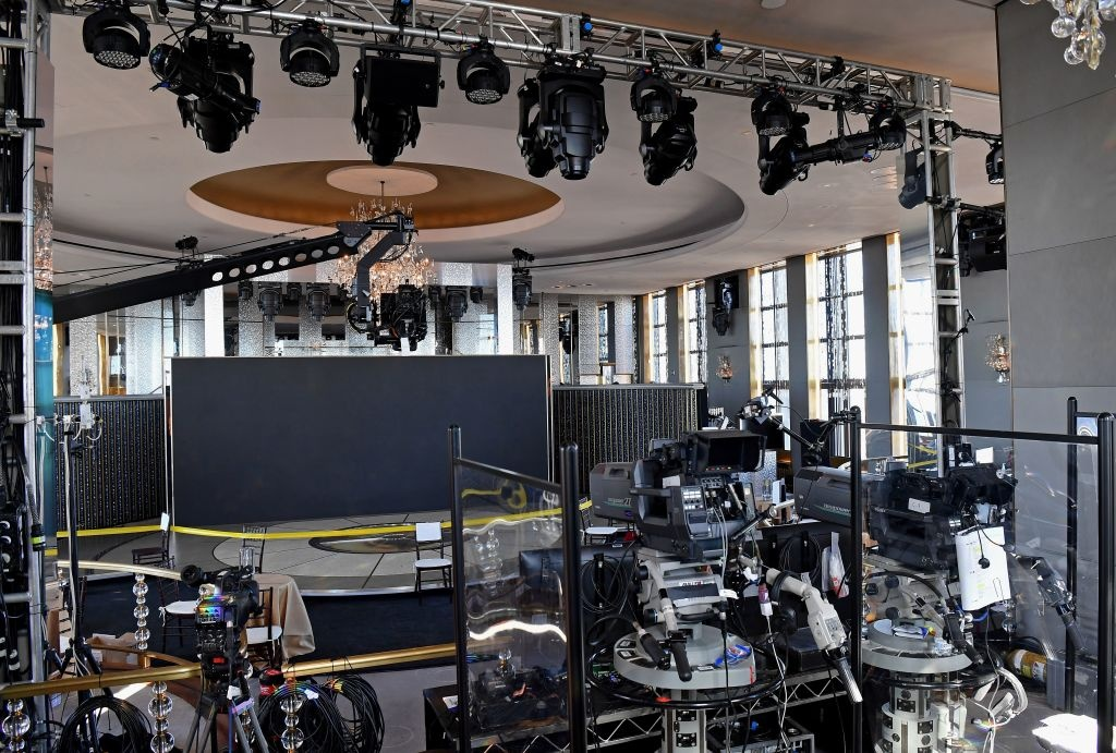 View of the stage and set up ahead of the 78th Annual Golden Globe Awards on February 25, 2021 in New York City.