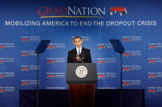 President Barack Obama speaks during an America's Promise Alliance event at the U.S. Chamber of Commerce March 1, 2010 in Washington, DC. Obama spoke on the administration's effort to improve the nation's schools.
