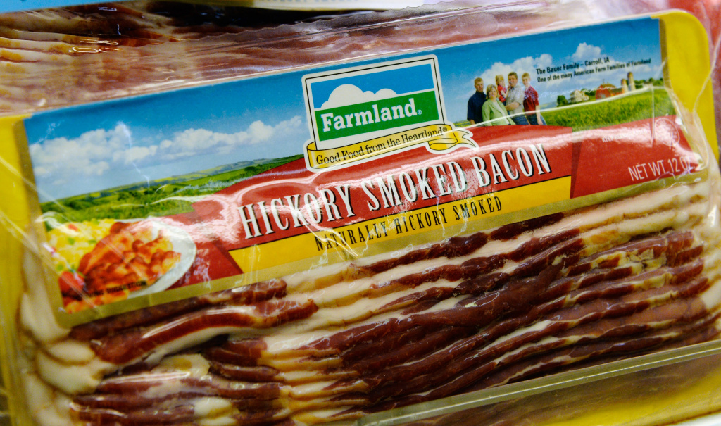 Farmland's hickory smoked bacon is on sale at a supermarket on May 29, 2013 in Los Angeles, California. Farmland is a brand owned by Smithfield Foods Inc, which is the biggest pork producer in the world.