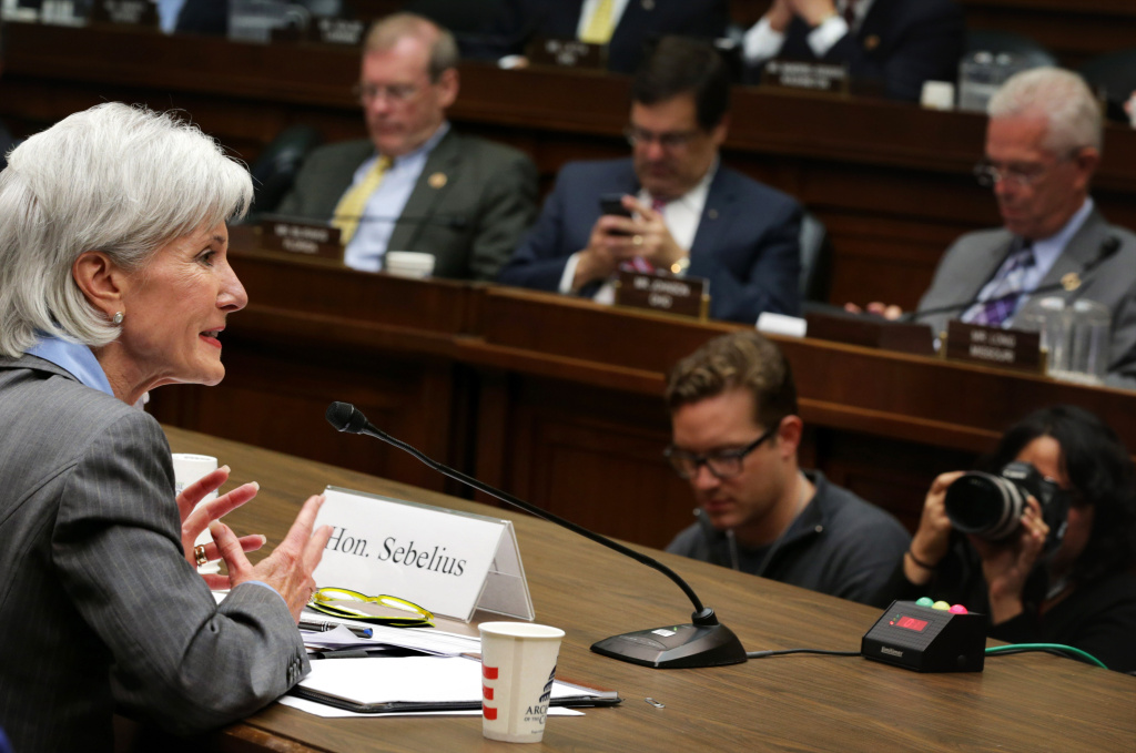 Health and Human Services Secretary Kathleen Sebelius testifies during the House Energy and Commerce Committee hearing about the troubled launch of the Healthcare.gov website October 30, 2013 in Washington, DC. The federal healthcare insurance exchange site has been plagued by problems since its launch on October 1.