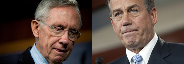 Senate Majority Leader Harry Reid (D-Nevada) (left) and Speaker of the House John Boehner (R-Ohio) (right)