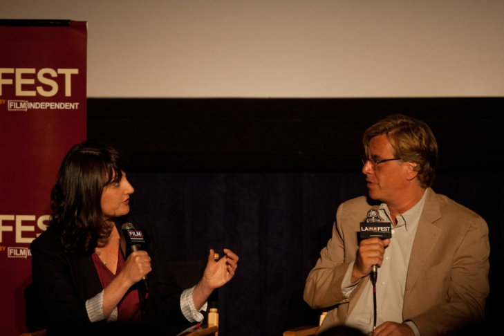 Aaron Sorkin talks with Alan Poul and Greg Mottola at the Los Angeles Film Festival on Friday. The panel was moderated by Madeleine Brand.