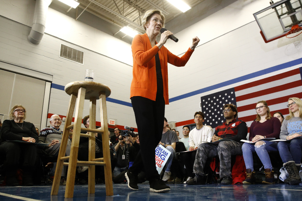 Democratic presidential candidate Sen. Elizabeth Warren, D-Mass., speaks during a campaign event in Marshalltown, Iowa, on Sunday.