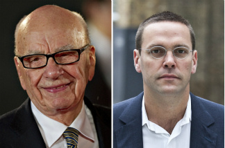 News Corporation Chief Rupert Murdoch, (L) his son James.
