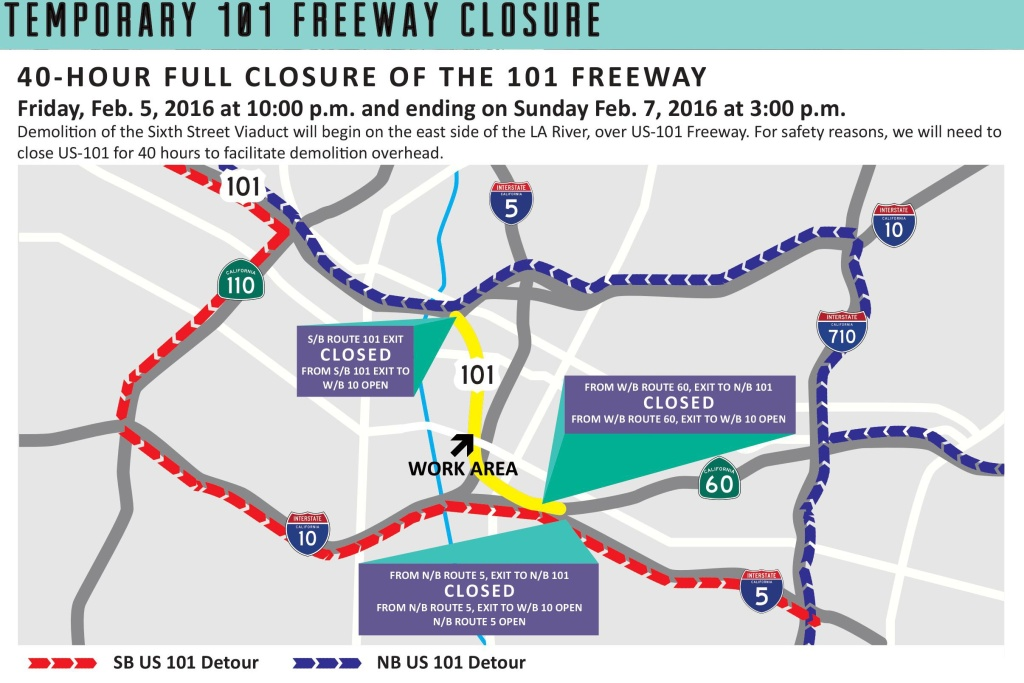 A flyer detailing the 101 freeway closure.