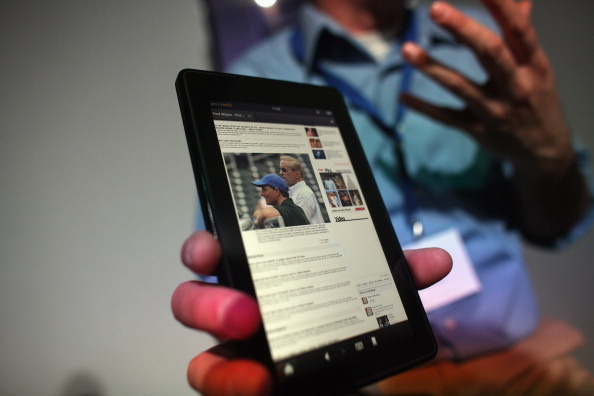 The new Amazon tablet called the Kindle Fire is displayed on September 28, 2011, in New York City.