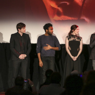 "Evan Peters, Donald Glover, Sarah Bolger, Mark Duplass and David Gelb on stage at Relativity Media's special screening of ""The Lazarus Effect"" at Hollywood Forever on February 17, 2015 in Hollywood, California."