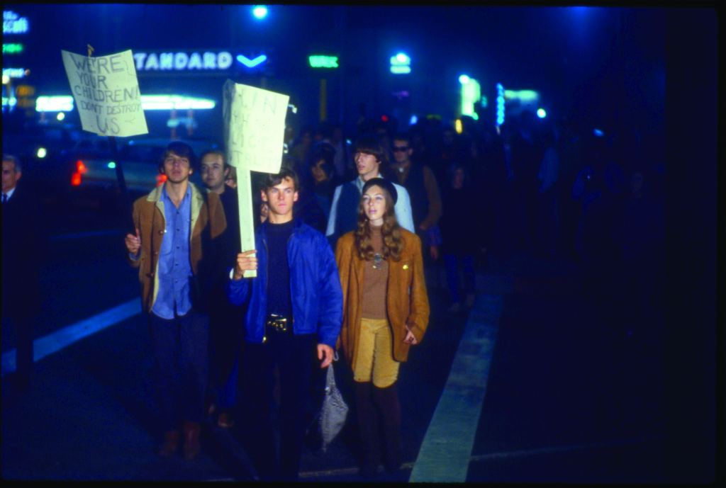 Rioters on the Sunset Strip in 1966.