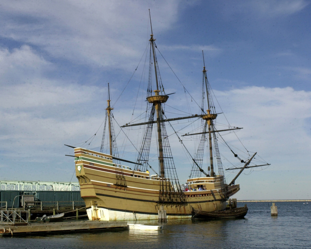 The Mayflower II, a replica of the ship which carried the pilgrims to the New World in 1620, is docked in Plymouth Harbor November 25, 2003 in Plymouth, Massachusetts.