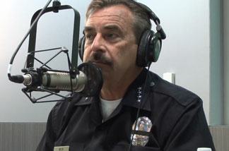 LAPD Chief Charlie Beck in KPCC's Pasadena studios, making his monthly appearance for