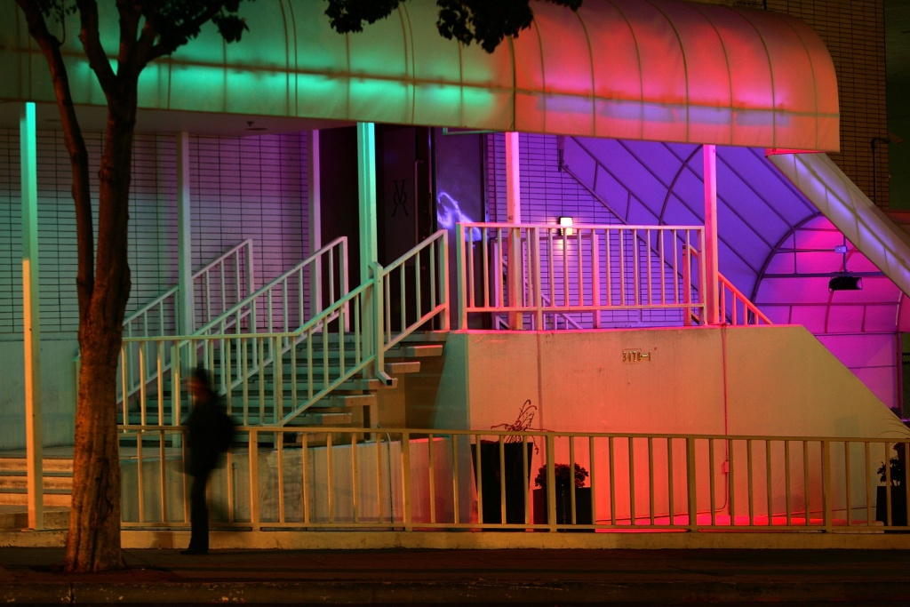 LOS ANGELES, CA - NOVEMBER 01:  Changing colors of lights decorate a nightclub in the trendy section of Koreatown on November 1, 2006 in Los Angeles, California. A series of high-profile murders, including the recent shooting deaths of three people in a restaurant, has many Koreatown residents afraid to go out after dark and local businessmen fearing a negative effect on South Korean investors and tourists. So far this year, Koreatown homicides have jumped 40 percent as rapes increased 47 percent and robberies 11percent. Koreatown has been growing its trendy section of luxury condominiums, fancy restaurants and nightclubs, and exclusive stores since it was hard-hit by the 1992 Los Angeles riots and gangs persist in Koreatown and the surrounding areas.  (Photo by David McNew/Getty Images)