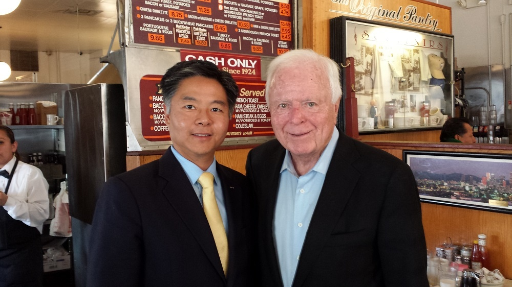 Former L.A. Mayor Richard Riordan endorsed state Sen. Ted Lieu for Congress Monday.