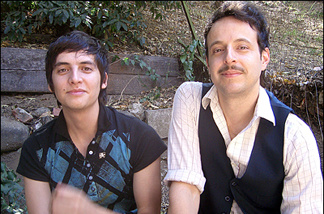 Kinky members Gilberto Cerezo (L) and Ulises Lozano, in their backyard in Laurel Canyon.
