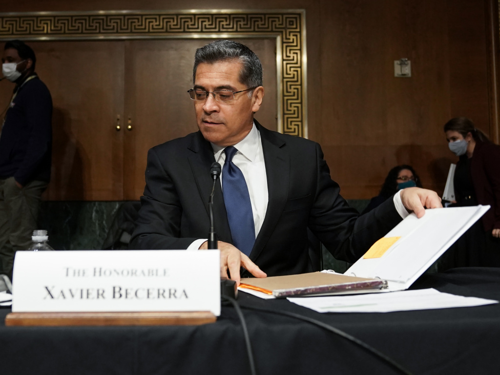Xavier Becerra, seen here during his February confirmation hearing, has been confirmed by the U.S. Senate as the Secretary of Health and Human Services.