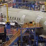 Boeing 787 jet on assembly line