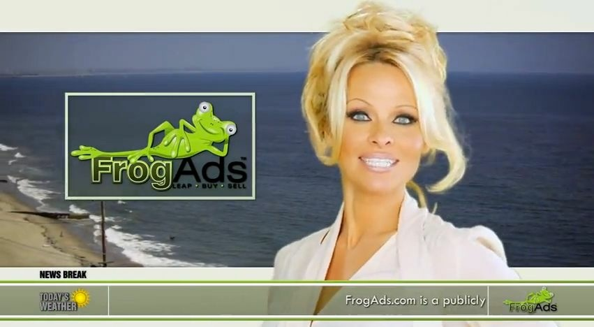 Pamela Anderson appears in an ad for FrogAds.com.