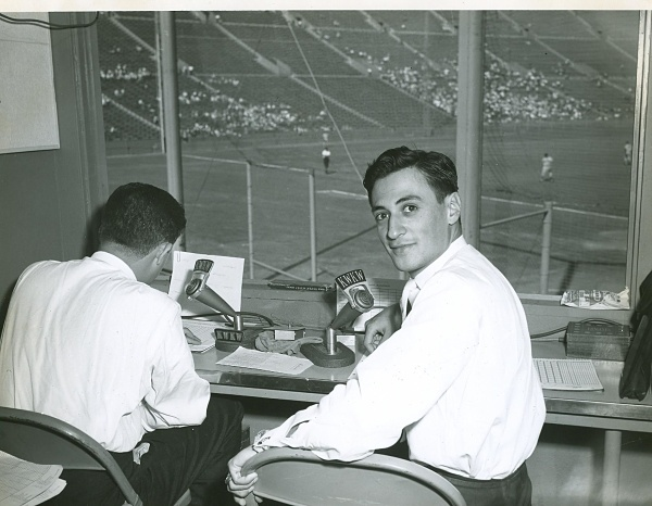 Jaime Jarrin in the broadcast booth at the L.A. Coliseum during the Dodgers' inaugural season in Los Angeles, 1959.