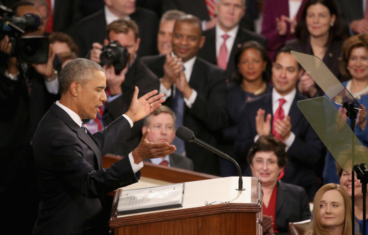 President Barack Obama acknowledges applause before delivering the State of the Union speech before members of Congress in the House chamber of the U.S. Capitol Jan. 12, 2016 in Washington, D.C. In his last State of the Union, President Obama reflected on the past seven years in office and spoke on topics including climate change, gun control, immigration and income inequality.