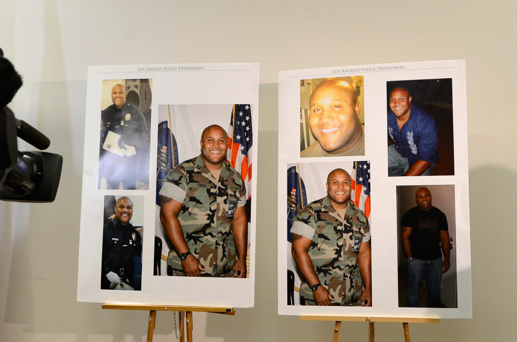 Pictures provided by Los Angeles Police Department of murder suspect Christopher Dorner are displayed during briefing on February 7, 2013 in Los Angeles, California.
