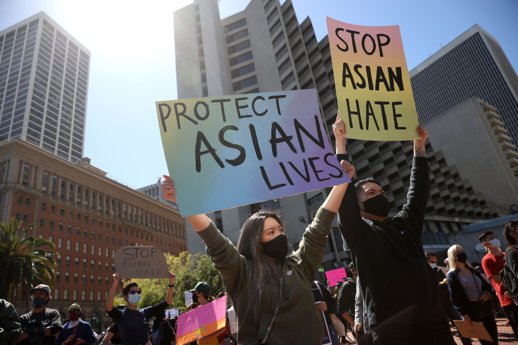 Protesters held a rally in March at San Francisco's Embarcadero Plaza in solidarity with Asian Americans who have recently been the targets of hate crimes across the United States.