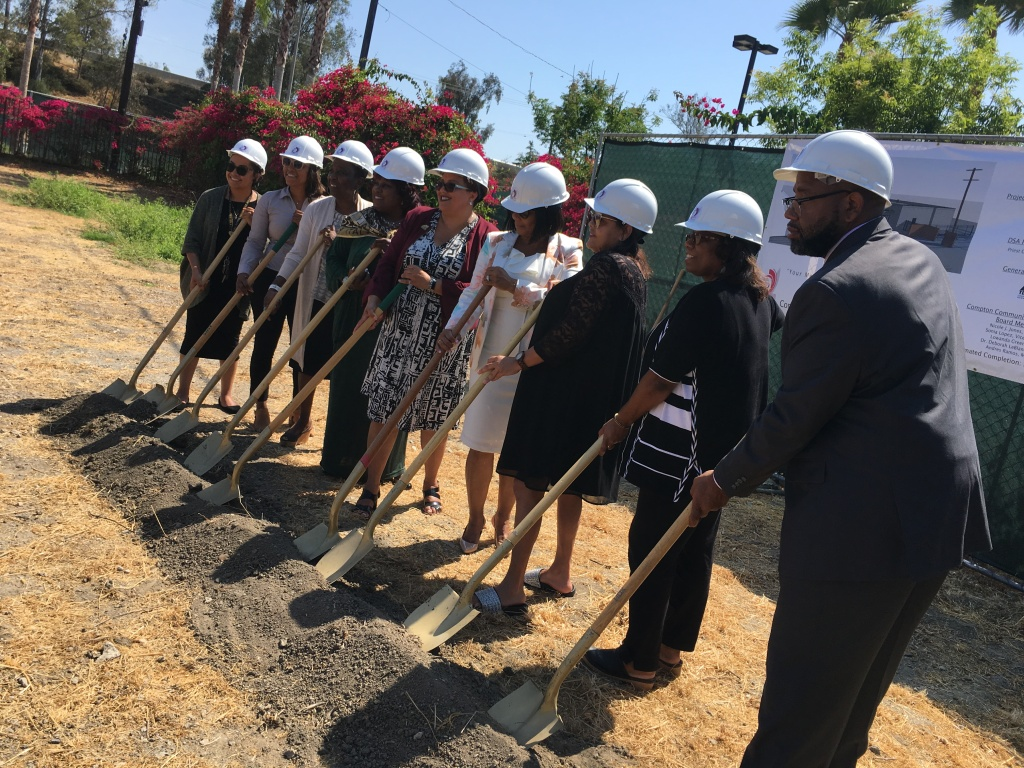 Compton College officials break ground on a $4.7 million campus safety building to house campus police.