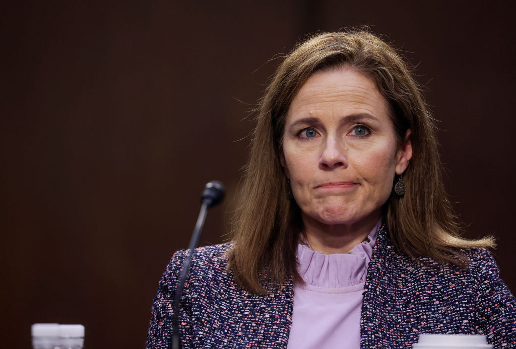 Supreme Court nominee Judge Amy Coney Barrett testifies before the Senate Judiciary Committee on the third day of her confirmation hearings on Capitol Hill on October 14, 2020 in Washington, DC.