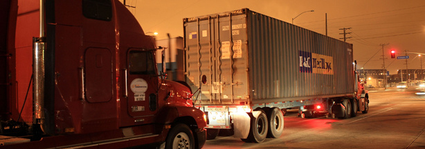 Trucks are driven near the Ports of Long Beach and Los Angeles, the busiest port complex in the US,