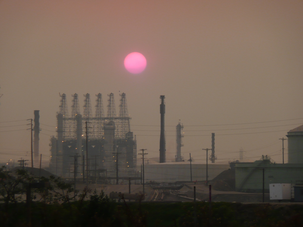 This is the sun setting over the Chevron refinery in El Segundo