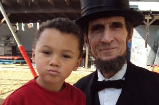 Lincoln impersonator Robert Broski takes a walk in Old Town Pasadena.
