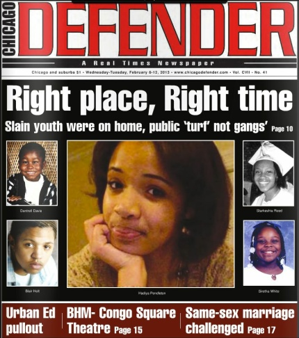 The African-American newspaper, The Chicago Defender.