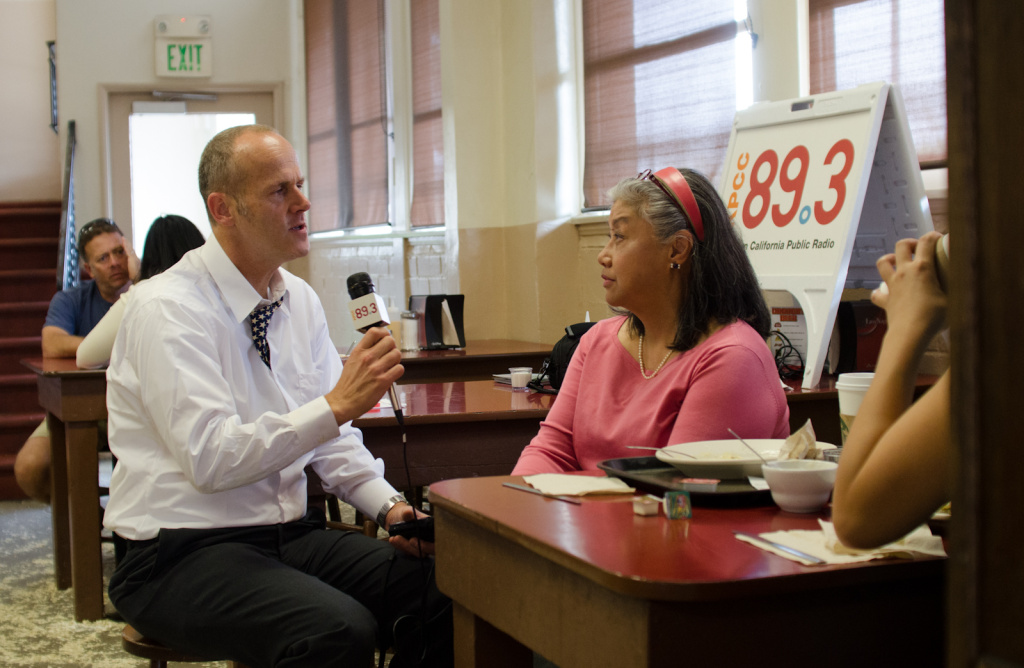 KPCC's Frank Stoltze interviews Sophie Lafferty at Philippe's in Los Angeles, Calif., Wednesday, October 10, 2012.