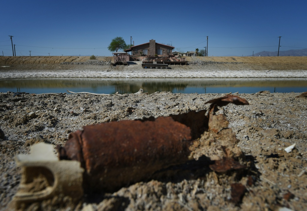 A marina house and its dock sits high above water level y beside the Salton Sea, California on March 19, 2015.