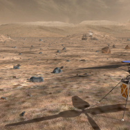 An illustration shows what a helicopter drone would look like on the surface of Mars.
