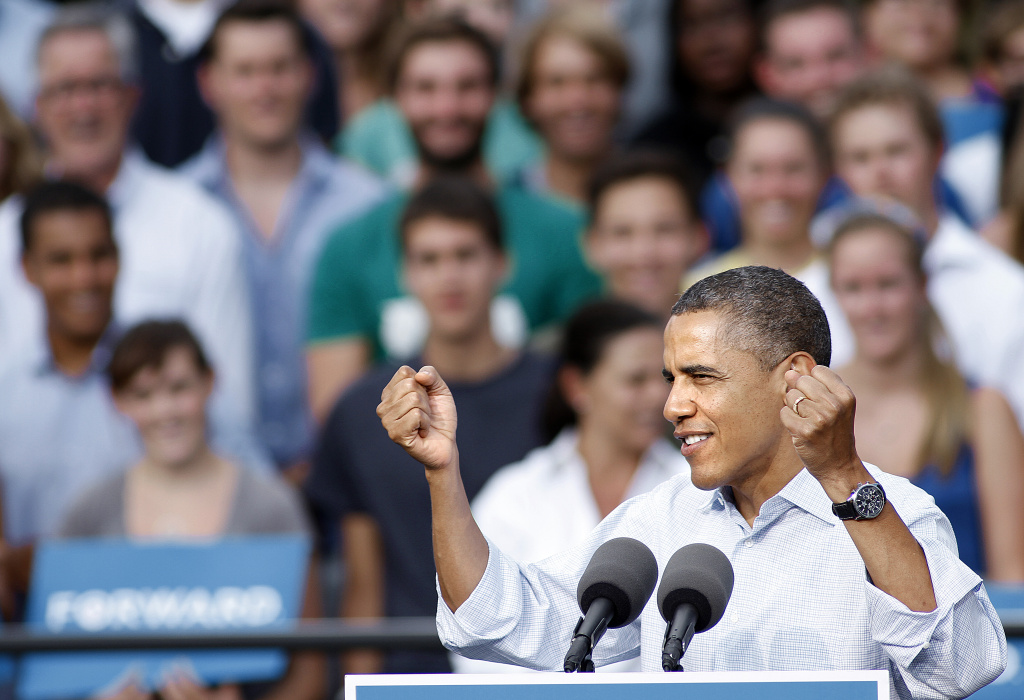 President Barack Obama speaks at a Grassroots Rally September 2, 2012 on the University of Colorado campus in Boulder, Colorado. An estimated crowd of about 13,000 gathered to listen as Obama discussed his plan to help the middle class, Obamacare's impact and the importance of the youth of America getting out to vote in the upcoming election.