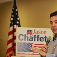 Congressman Jason Chaffetz speaks to an audience at Town Hall.