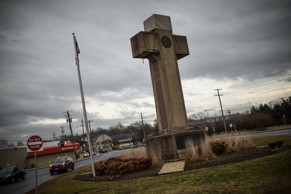 The World War I memorial cross in Bladensburg, Maryland -- near the nation's capital Washington -- is seen on February 08, 2019.