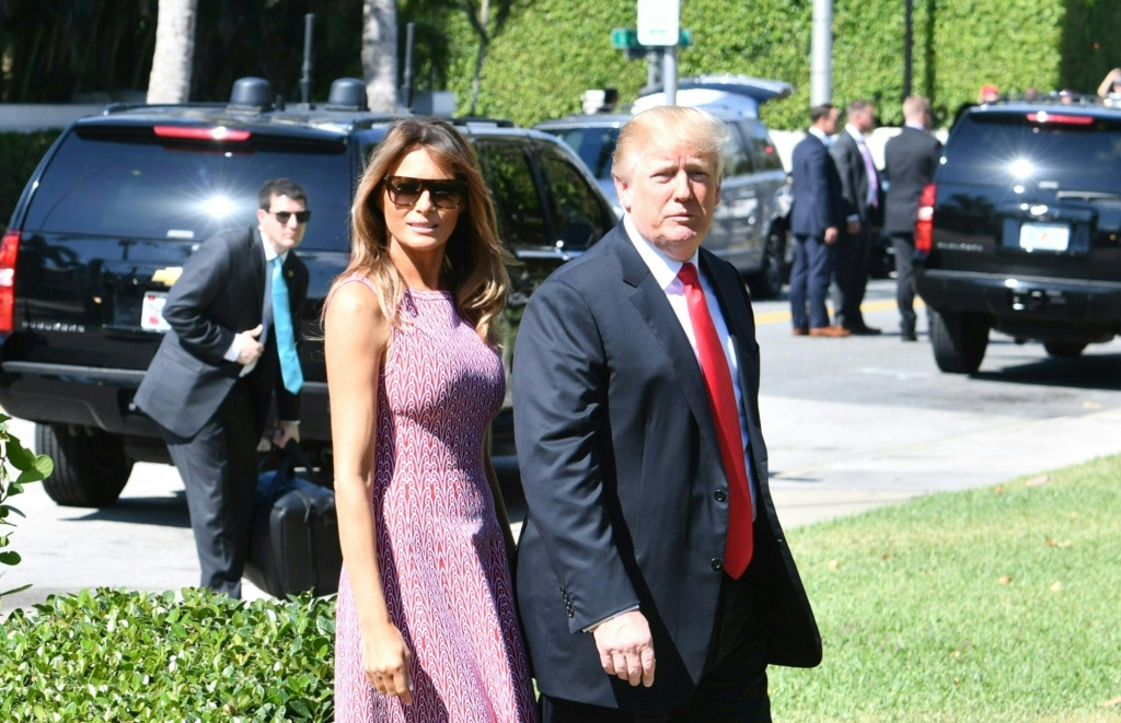 U.S. President Donald Trump and First Lady Melania Trump arrive for Easter services at the Church of Bethesda-by-the-Sea in Palm Beach, Florida, April 1, 2018.